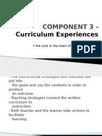 COMPONENT 3 - Curriculum Experiences