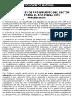 Expo Motivos Proy Ley Presupuesto 2015