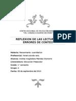 REFLEXIÓN DE BAROODY, GUÍA DE LA EDUCADORA Y ERRORES DE CONTEO