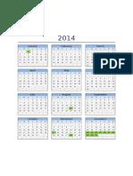 Calendario 2014 Lunes a Domingo