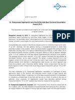 ACM Press Release on Dissertation Award-revised