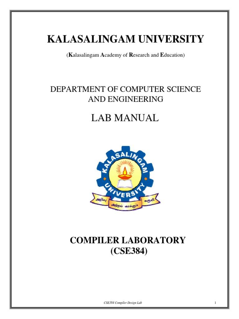 Cse384 Compiler Design Laboratory Lab Manual   Parsing