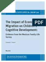 The Impact of Economic Migration on Children's Cognitive Development