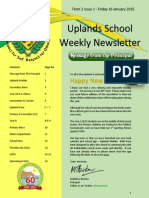 Uplands School Weekly Newsletter - Term 2 Issue 1 - 16 January