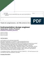 Instrumentation Design Engineer, Hyderabad - 1145713 - Careesma