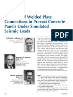 Behavior o Welded Plate Connections in Precast Concrete Panels Under Simulated Seismic Loads