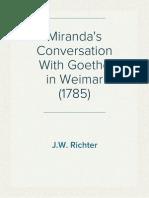Miranda's Conversation With Goethe in Weimar (1785)