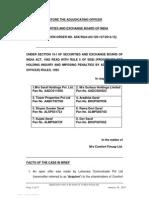 Adjudication order in respect of Erstwhile promoters in the matter of M/s Comfort Fincap Ltd