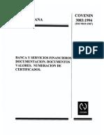 3083-1994. Banca y Servicios Financieros. Documentacion. Documentos. Valores. Numeracion de Certificados