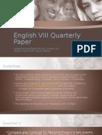 English VIII 3rd Quarterly Paper (Linnaeus VIII)