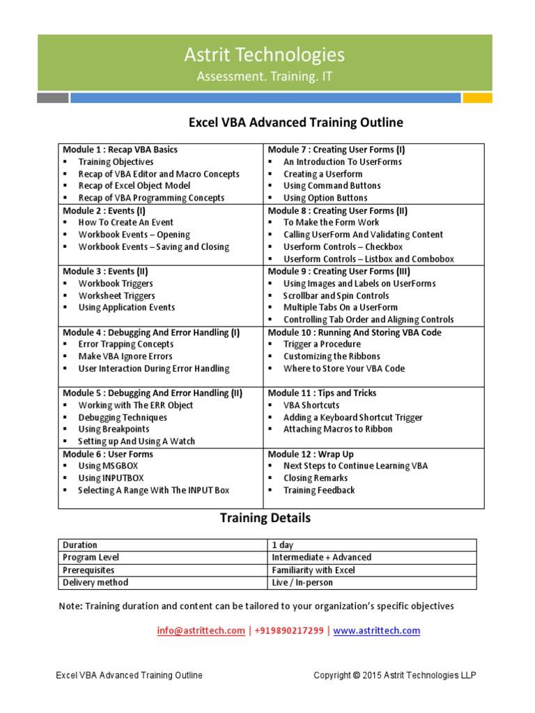 Excel Vba Advanced Training Curriculum Visual Basic For