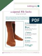 Ann Budd - Diagonal Rib Socks Pattern