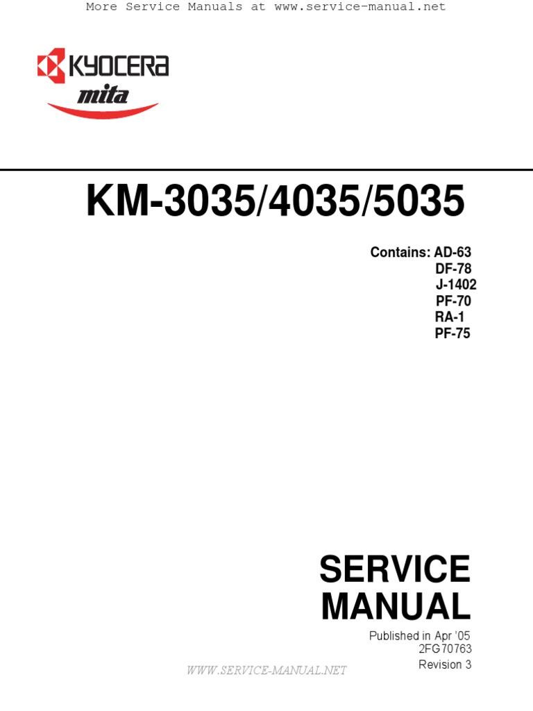 Kyocera-mita km-3035, km-4035, km-5035 service manual download.