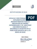Nota Técnica 2012 -7_ Eficacia y Efectividad de La Suplementación de Micronutrientes Para La Prevención de Anemia