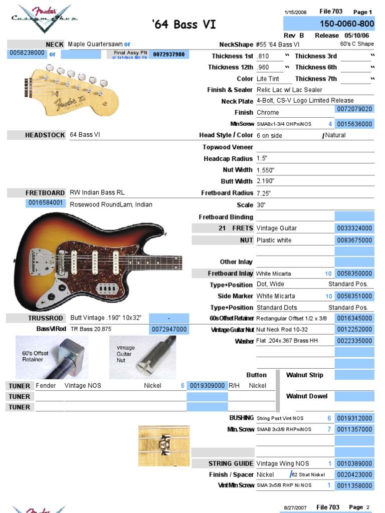 1964 fender bass vi parts list and wiring chart rh scribd com P Bass Special Wiring P Bass Pickup Wiring