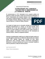 PRIMER VICEPRESIDENTE DEL CONGRESO EXPRESA SU SALUDO POR EL ANIVERSARIO DE LA CIUDAD DE  HUASTA