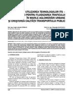 UTILIZAREA TEHNOLOGIILOR ITS in scopul fluidizarii traficului.pdf