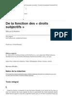 LUHMANN, Niklas - De La Fonction Des 'Droits Subjectifes'