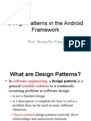 Design Patterns In The Android Framework Class Computer Programming Inheritance Object Oriented Programming