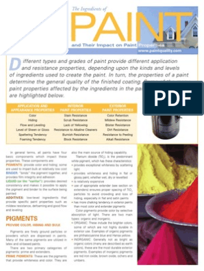 PAINT ingredients pdf | Paint | Acrylic Paint