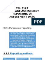 tsl3123 LANGUAGE ASSESSMENTREPORTING OF ASSESSMENT DATA