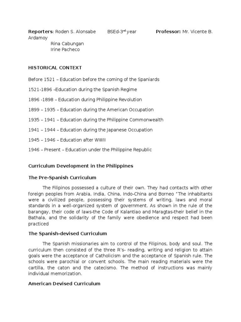 Curriculum Development Report | Philippines | Curriculum