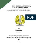 Pemimpin Sebagai Manajer, Administrasi, Pemimpin