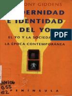 Anthony Giddens Modernidad e Identidad Del Yo