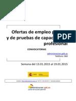 Boletin Semanal Convocatorias Empleo  Público España 17-01-2015