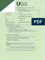 BAA 3223 Steel & Timber Design Final Exam Paper