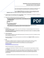 Information Sheet O a as A2 May June 2014