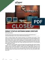 Debat Status Sistemik Bank Century