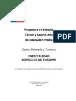 Programa de Estudio Especialidad SERVICIO de TURISMO
