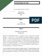 Foucault - L'herméneutique du sujet (6 janvier 1982)