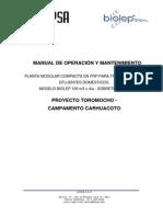 Manual de Operación y Mantenimiento - Biolep 100 m3xdia - Camp. Carhuacoto