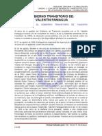 Informe Sobre El Gobierno Transitorio de Valentin Paniagua