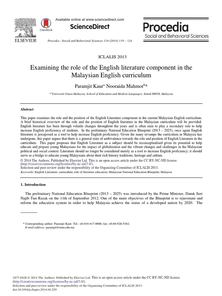 Examining the Role of the English Literature Component in the ...