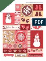 Lamina de etiquetas navideñas