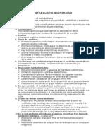 Cuestionario de Metabolismo Bacteriano