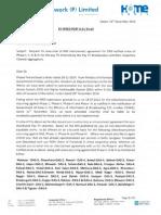 HCNPL letter dated 16th Dec 2014 to Taj Television (India) Pvt. Ltd