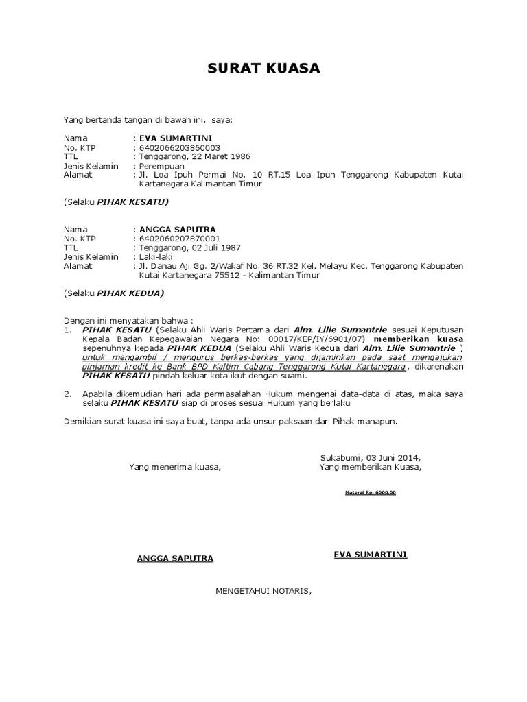 Contoh Pengisian Surat Keterangan Kuasa Ahli Waris Taspen