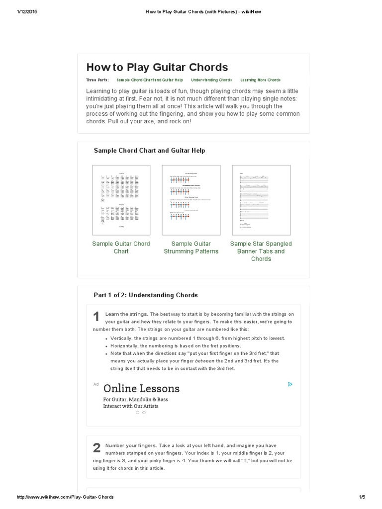 How To Play Guitar Chords With Pictures Wikihowpdf String