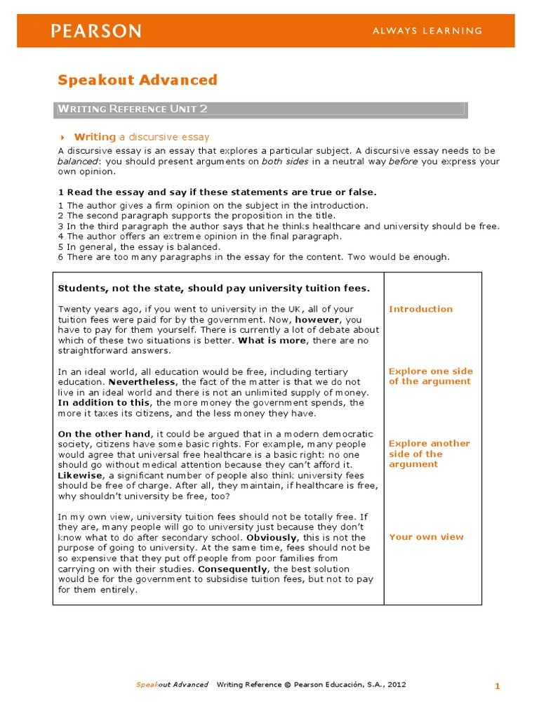 discursive essay speakout worksheet