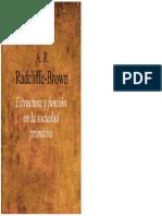 Estructura y Funcion en La Sociedad Primitiva R Radcliffe Brown