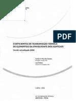 Coeficientes de Transmissão Térmica de Elementos da Envolvente dos Edifícios