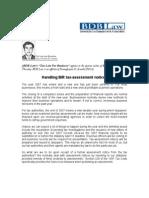 21.BM.handling BIR Tax Assessment Notices.01.10.08.CMC