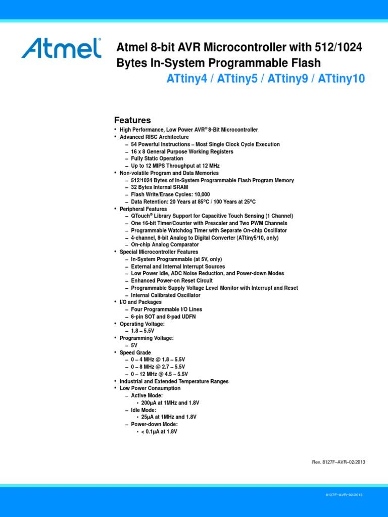 Atmel 8127 Avr 8 Bit Microcontroller Attiny4 Attiny5 Attiny9 Mcu Family Expanded Attiny10 Datasheet Instruction Set