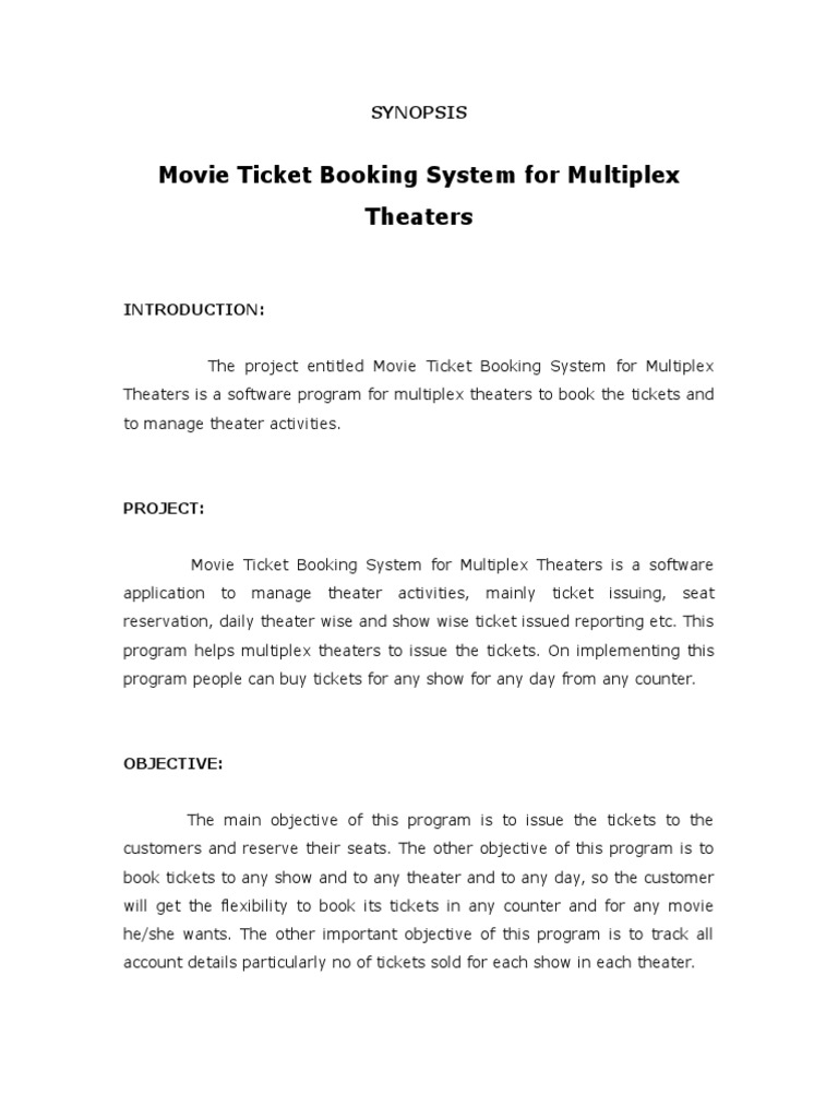 Synopsis Movie Ticket Booking | Newspapers | My Sql