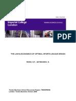 THE LAW & ECONOMICS OF OPTIMAL SPORTS LEAGUE DESIGN