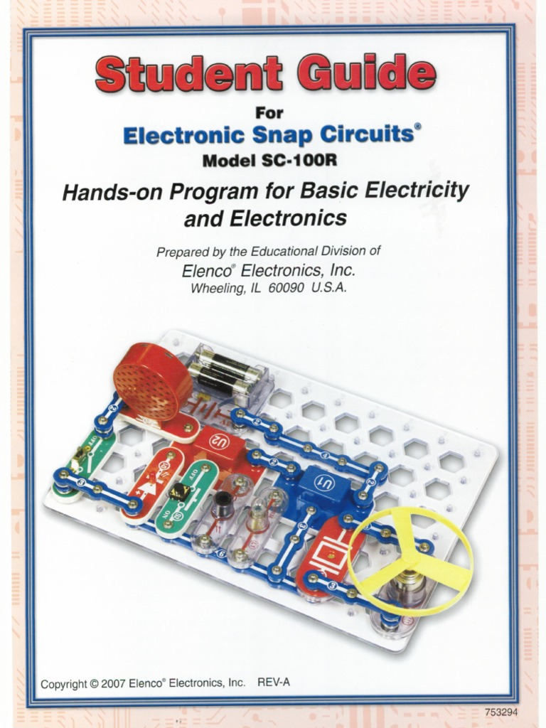 Student Guide For Electronic Snap Circuits Elenco Electronics Electrical Project Kid Educational